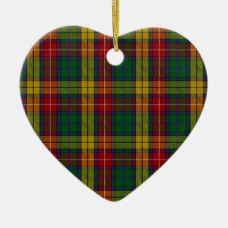 Buchanan Clan Family Tartan Ceramic Heart Ornament