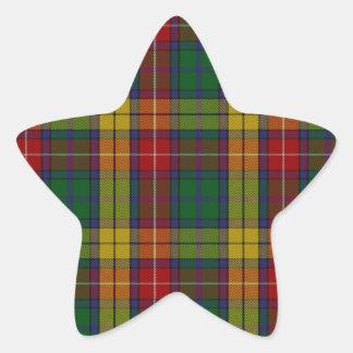 Buchanan Clan Family Tartan Star Sticker