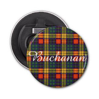 Buchanan clan Plaid Scottish tartan Button Bottle Opener