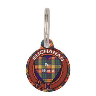 Buchanan clan Plaid Scottish tartan Pet Nametag