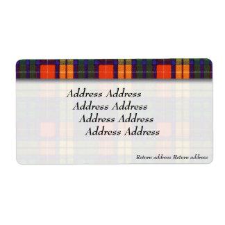 Buchanan clan Plaid Scottish tartan Shipping Label