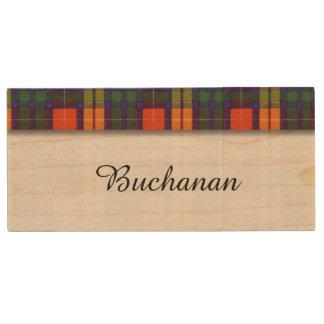 Buchanan clan Plaid Scottish tartan Wood USB 2.0 Flash Drive