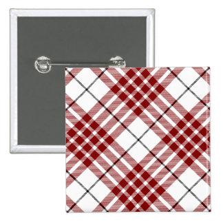 Buchanan clan tartan red white plaid 2 inch square button
