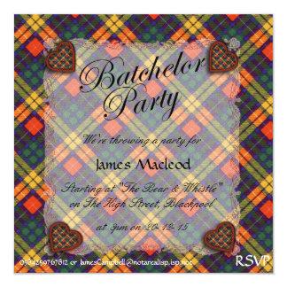 "Buchanan Family clan Plaid Scottish kilt tartan 5.25"" Square Invitation Card"