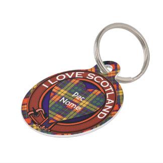 Buchanan Family clan Plaid Scottish kilt tartan Pet Name Tag