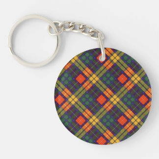 Buchanan Family clan Plaid Scottish kilt tartan Double-Sided Round Acrylic Keychain