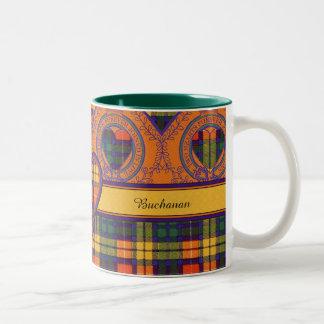 Buchanan Family clan Plaid Scottish kilt tartan Two-Tone Mug