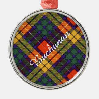 Buchanan Family clan Plaid Scottish kilt tartan Silver-Colored Round Ornament