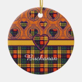 Buchanan Family clan Plaid Scottish kilt tartan Double-Sided Ceramic Round Christmas Ornament