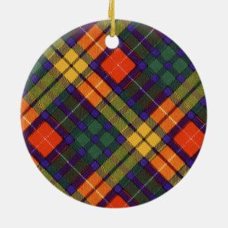 Buchanan Family clan Plaid Scottish kilt tartan Round Ceramic Ornament