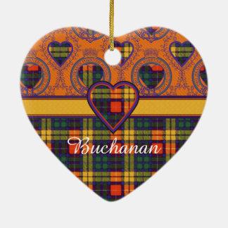 Buchanan Family clan Plaid Scottish kilt tartan Ceramic Heart Ornament