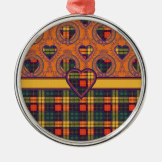 Buchanan Family clan Plaid Scottish kilt tartan Round Metal Christmas Ornament