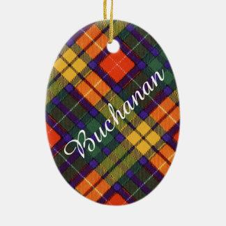 Buchanan Family clan Plaid Scottish kilt tartan Ceramic Oval Ornament