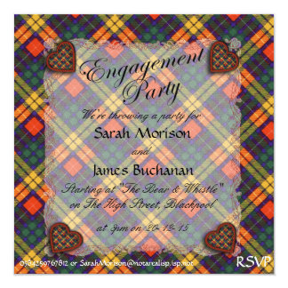 Buchanan Scottish clan tartan - Plaid 5.25x5.25 Square Paper Invitation Card