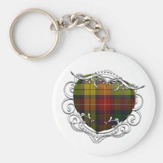 Buchanan Tartan Heart Basic Round Button Keychain