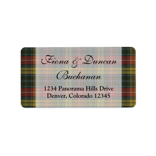 Buchanan Weathered Clan Tartan Address Label