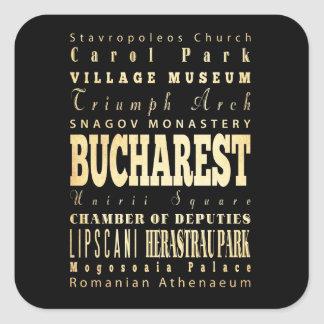 Bucharest City of Romania Typography Art Square Sticker