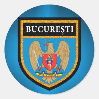 Bucharest  Flag Classic Round Sticker