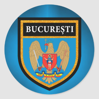 Bucharest  Flag Round Sticker