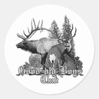 Buck and bull wildlife classic round sticker