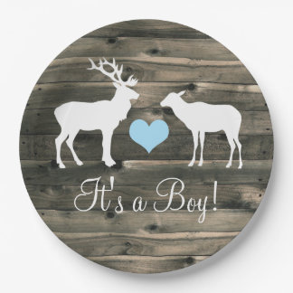 Buck and Doe (blue) Baby Shower Paper Plate