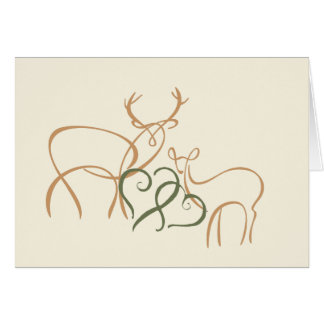 Buck and Doe in Love Tan and Green Note Card