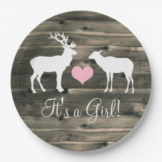 Buck and Doe (pink) Baby Shower Paper Plate