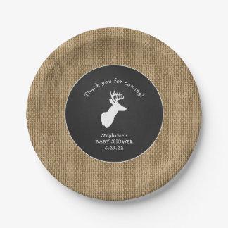 Buck Baby Shower decor, oh deer burlap chalk Paper Plate