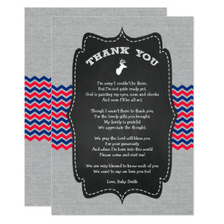 Buck Baby Shower Thank you note red white blue Card