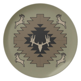 Buck deer American Indian art Dinner Plates