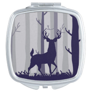 Buck Deer Foggy Forest Scene Mirrors For Makeup