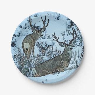 Buck deer in snow 7 inch paper plate