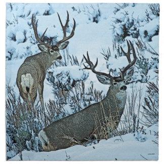 Buck deer in snow napkin