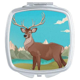 Buck Deer Mountain Scene Mirrors For Makeup
