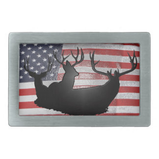 Buck deer on American flag Rectangular Belt Buckles