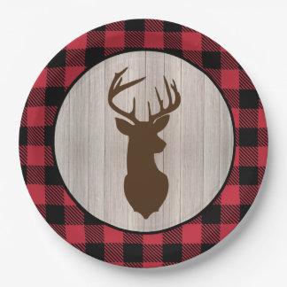 Buck Deer Silhouette Lumberjack Buffalo Plaid Paper Plate
