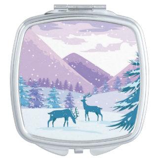 Buck Deer Winter Scene Vanity Mirrors