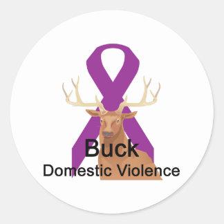 Buck-Domestic-Violence Round Sticker
