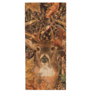 Buck Fall Camouflage White Tail Deer on a Wood USB Flash Drive