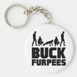 Buck Furpees -- Burpees Fitness Basic Round Button Keychain