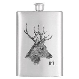Buck Head with Monogram Hip Flask
