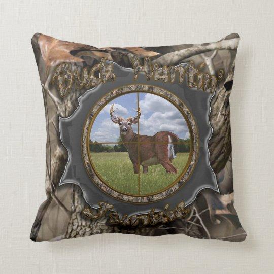 Buck Huntin' Junkie Camo Pillow