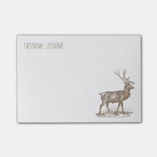 Buck Mule Deer Corner Letterpress Style Post-it Notes