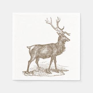Buck Mule Deer Letterpress Style Paper Napkin