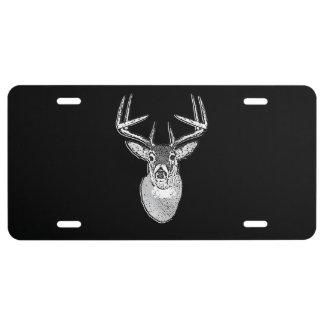 Buck on Black design White Tail Deer License Plate