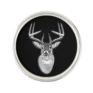Buck on Black White Tail Deer head Lapel Pin