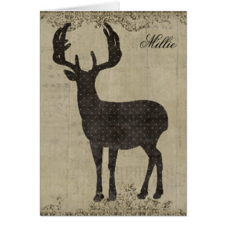 Buck Silhouette Personalized Notecard