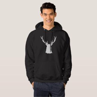 Buck Stag Head Antlers Silhouette White Deer Hoodie