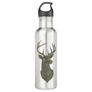 Buck Trophy Deer Silhouette in Camouflage Green 710 Ml Water Bottle