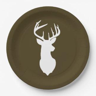 Buck White Deer Silhouette Plate   Dark Brown 9 Inch Paper Plate